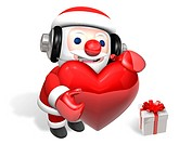 3d santa holding big red heart with headphone and gift