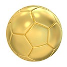 gold Soccer ball. Isolated 3D image on a white