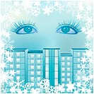 Frame of snowflakes on a blue background with women´s eyes and the urban landscape. Image contains gradient mesh.