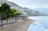 Beach and Malecon on Pacific Ocean in Puerto Vallarta, Mexico