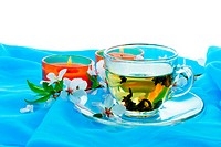 Herbal tea and blossom cherry branch over blue textile background