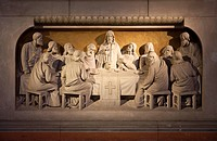 Relief of the Last Supper in the chancel of the Zwingli-Kirche Church, Berlin, Friedrichshain district, Germany, Europe