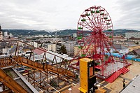 Art installation with a Ferris wheel above the roofs of Linz during Ars Electronica, Austria, Europe