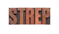 the word ´strep´ in old ink_stained wood type