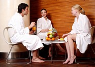Friends having a refreshment after a spa treatment (thumbnail)