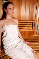 Young woman enjoying a sauna