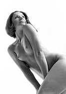 Adult naked woman portrait in monochrome