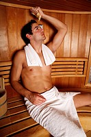 A man enjoying a sauna