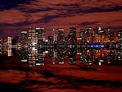 Manhattan skylines at night