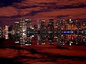 Manhattan skylines at night