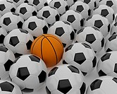 Football and basketball balls. 3d illustration on the white background.