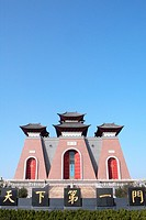 Landmark of a famous historic Chinese gate against blue sky