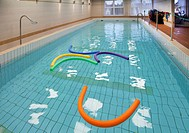 Rehabilitation Center facilities. A shallow swimming hydropathy, hydrotherapy water physiotherapy pool, with colourful tube floats