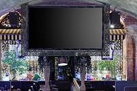 Big screen in restaurant