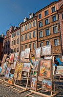 Artwork for sale in main square of Old Town, Warsaw, Poland