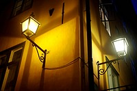 Old fashioned lantern on old Stockholm street  Gamla Stan