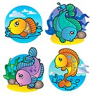 Various freshwater fishes 1 _ vector illustration.