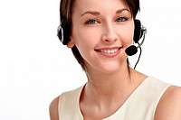 smiling woman operator with headset _ microphone and headphones, on white