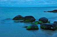 big stones in the water