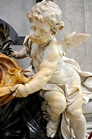 Marble putto on a stoup, St. Peter's Basilica, Vatican City, Rome, Lazio region, Italy, Europe