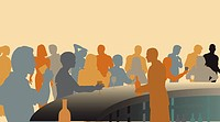 Toned editable vector silhouettes of people in a wine bar