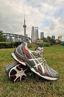Running shoes, the Bund waterfront area, Oriental Pearl Tower, Shanghai, China, Asia