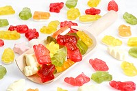 Colorful candy on bright background
