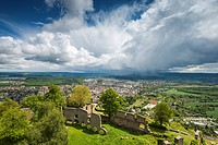 View of Singen as seen from the ruins of the fortress Hohentwiel, Baden-Wuerttemberg, Germany, Europe