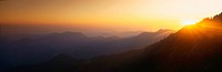 This is sunset at Moro Rock. It is the view toward the central valley.