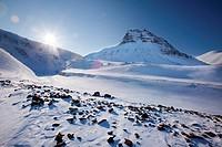 Mountain landscape on the island of Spitsbergen, Svalbard, Norway