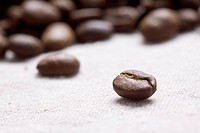 Roasted coffee beans on jute sacking