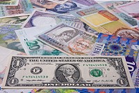 Financial background _ Assortment of banknote Focus on the Dollar