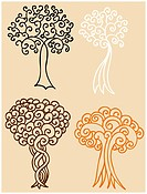 A set of hand drawn trees _ swirl style.