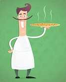 Illustration of an cartoon happy chef with pizza in his hand.