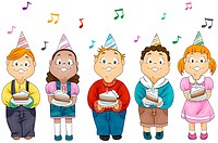Illustration of Kids Holding Slices of Cake with Birthday Candles on Top