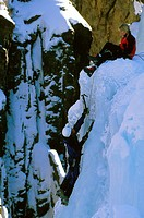 Colorado, Ouray. Man And A Woman Ice Climbing