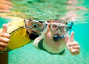 Two boys underwater