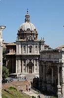 Arch of Septimius Severus and Church of Santi Luca e Martina, Rome, Italy, Europe