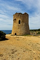 Medieval watchtower on the coast, Cala Pi, Majorca, Balearic Islands, Spain, Europe