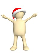 3d puppet in christmas hat. Isolated over white