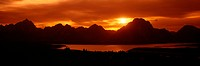Sunset at Jackson Lake and Grand Tetons, Grand Teton National Park, Wyoming