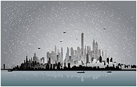 city in the winter night