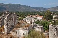 Ghost town of Kayakoey near Fethiye, former Levissi, Lycia, Mediterranean Sea, Turkey, Asia Minor