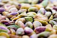 Bunch of pistachios, shallow focus