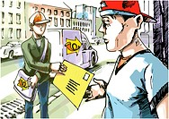 The postman is giving a mail to the guy in a red baseball hat. The logo on the car side and the postman´s bag is my fantasy and stylization.
