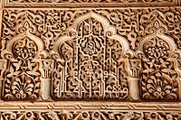 Ornate carvings at the Alhambra palace in Granada in Andalusia in the south of Spain