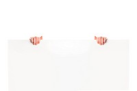 Male hands on white banner isolated on white background