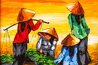 Painting of Vietnamese agricultural workers, Vietnam