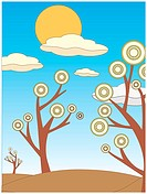 Warm fading colors of three abstract surreal trees with full bright sun and few clouds above vector illustration