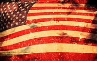 Computer designed highly detailed grunge illustration _ Flag of USA